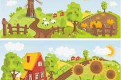 Link toCartoon farm banner vector