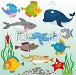 Link toCartoon fish, land animals vector