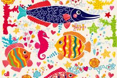 Cartoon fish underwater world background vector