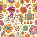 Link toCartoon flower pattern vector