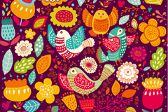 Cartoon flowers and birds background vector