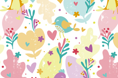 Link toCartoon flowers and birds seamless vector background illustration