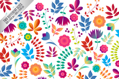 Cartoon flowers and leaves seamless vector background illustration