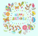 Link toCartoon flowers birthday card vector