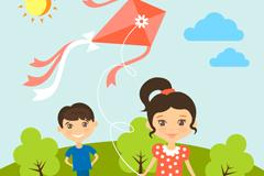 Link toCartoon flying kites child vector
