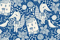 Link toCartoon fox house seamless vector background