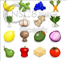 Cartoon fruit and vegetables desktop icons