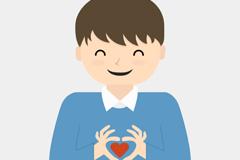 Cartoon hand loving boy vector
