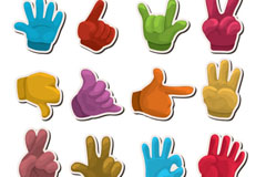 Cartoon hand stickers vector