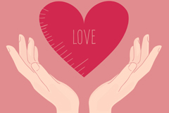 Cartoon hands lifted the loving hearts design vector