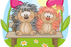 Link toCartoon hedgehog lovers background vector