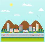 Link toCartoon highway town background vector