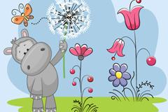 Cartoon hippo with flowers vector