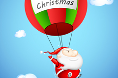 Link toCartoon hot air balloon santa claus, vector