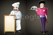 Link toCartoon hotel chef and waiter vector