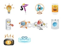 Cartoon household appliances icons