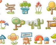 Link tovector house tree mushroom plant icon Cartoon