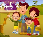 Link toCartoon illustration of the family of 10 vector