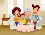 Link toCartoon illustration of the family of 4 vector