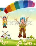 Link toCartoon illustration of the family of 6 vector