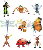 Link toCartoon image of insects vector