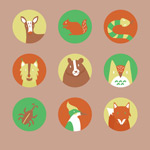 Link toCartoon jungle animals avatars vector