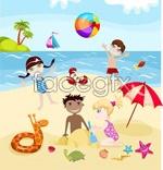 Link toCartoon kids summer beach vector