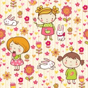 Link toCartoon kids with floral seamless pattern vector 01 free