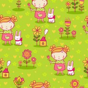 Link toCartoon kids with floral seamless pattern vector 02 free