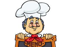 Link toCartoon-like chefs blackboard menu, vector