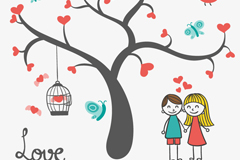 Link toCartoon love trees and couples vector