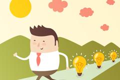 Link toCartoon man with light bulbs vector