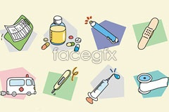 Cartoon medical banzzoc korea vector icons