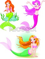 Link toCartoon mermaid vector