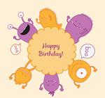 Link toCartoon monster birthday cards vector