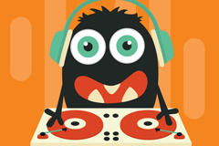 Link toCartoon monster dj design vector