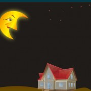 Link toCartoon moon and house desing vector free