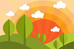 Link toCartoon mountain sunrise scenery vector