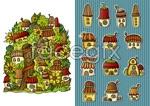 Link toCartoon mushroom house vector