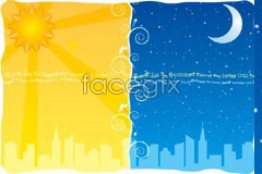 Link toA cartoon nature of the night and the day the city silhouette vector illustration