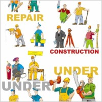 Link toCartoon of workers and tools vector