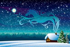 Link toCartoon on a snowy evening field vector illustration