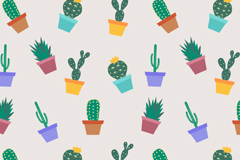 Cartoon opuntia potted seamless vector background illustration