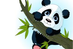 Cartoon panda climbing branches vector