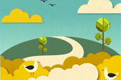 Link toCartoon paper-cut landscape vector illustration