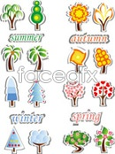 Cartoon paper cut tree vector