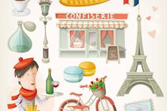 Link toCartoon paris romantic design elements vector