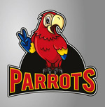 Cartoon parrot sign vector