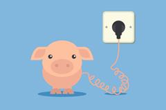 Link toCartoon pig charging background vector