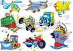 Link toCartoon plane train car vector